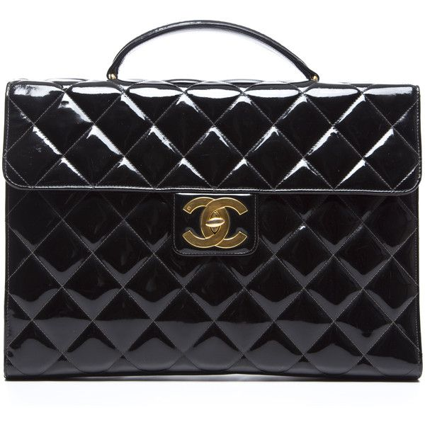 Pre-Owned Chanel Black Patent Leather Briefcase Bag (8.505 BRL) ❤ liked on Polyvore featuring bags, handbags, chanel, bolsas, black, pre owned bags, patent leather handbags, pocket purse, preowned handbags and chanel handbags