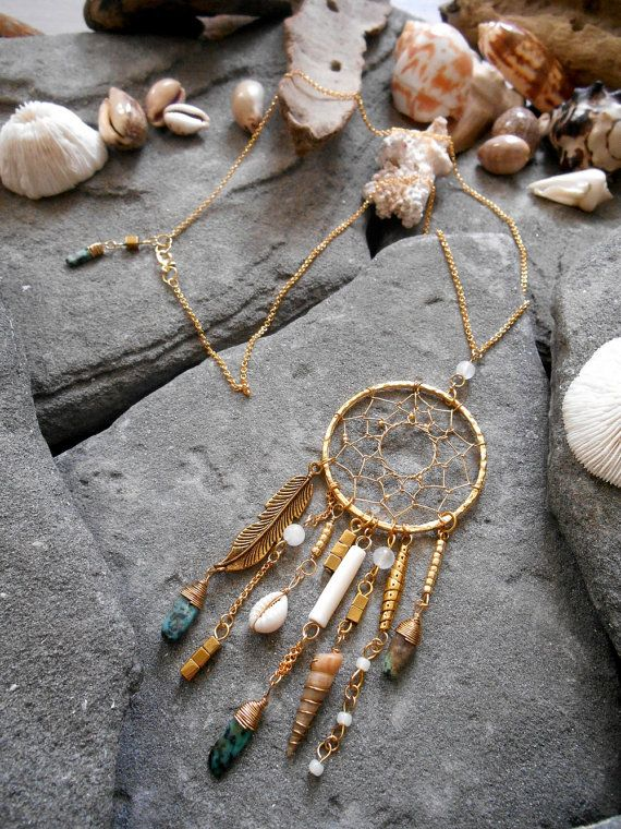 necklace native american dream catcher inspired african turquoise shells pyrite cube. Black Bedroom Furniture Sets. Home Design Ideas