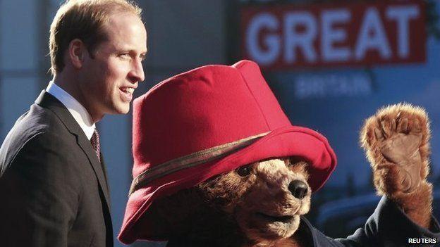 Prince William with Paddington Bear in China.