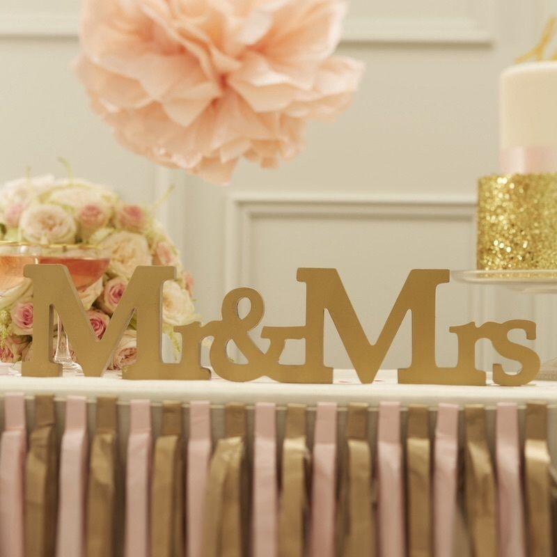 Gold Mr & Mrs Wooden Sign - Gold - Pastel Perfection Range