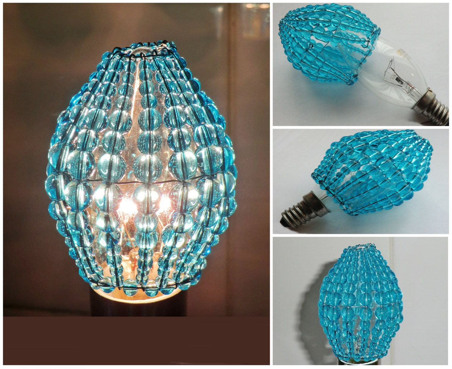 Crystal Chandelier Inspired Glass Beaded Lightbulb Candle Bulb Cover Turquoise Pendant Lamp Teal Aqua Shade