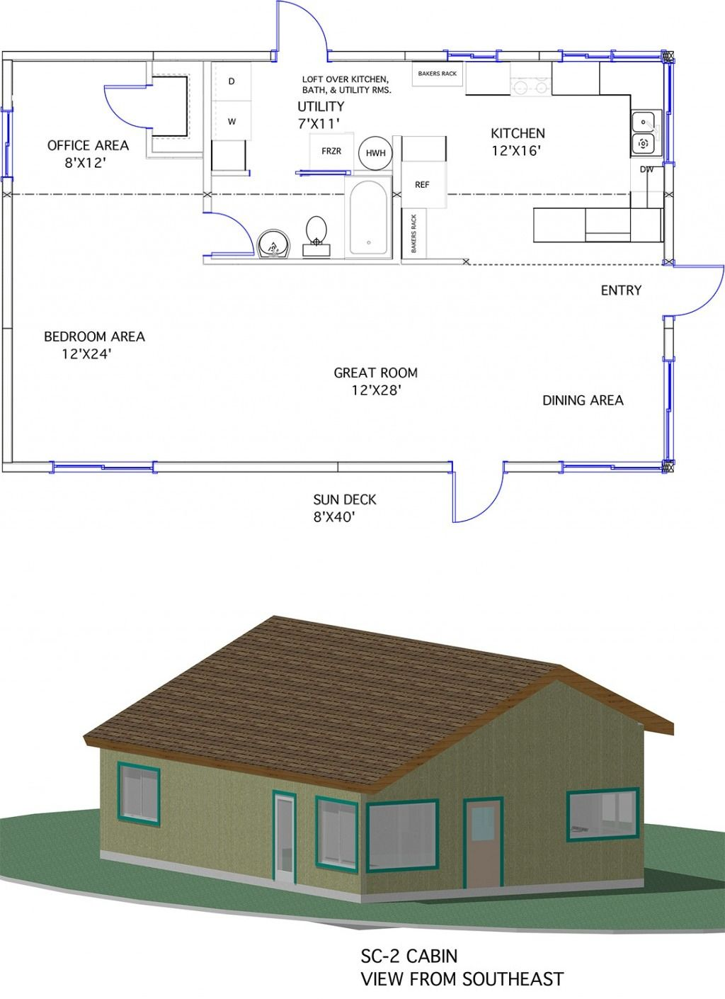 1120 sq ft -- Model SC-2 from Zero Energy Home Plans. The ...