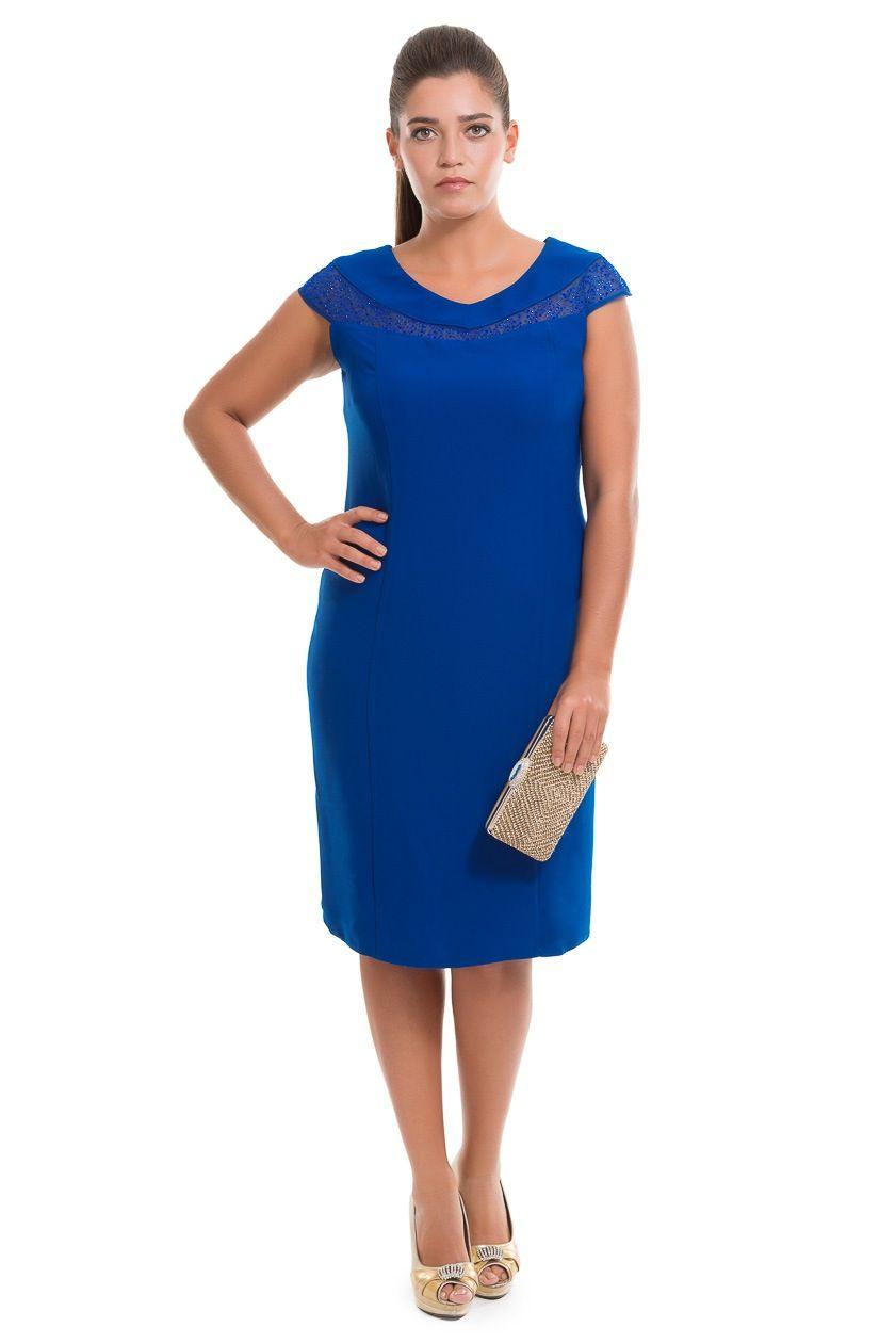 Saks Mavi Buyuk Beden Abiye C4009 Moda Stilleri Elbise Modelleri Giyim