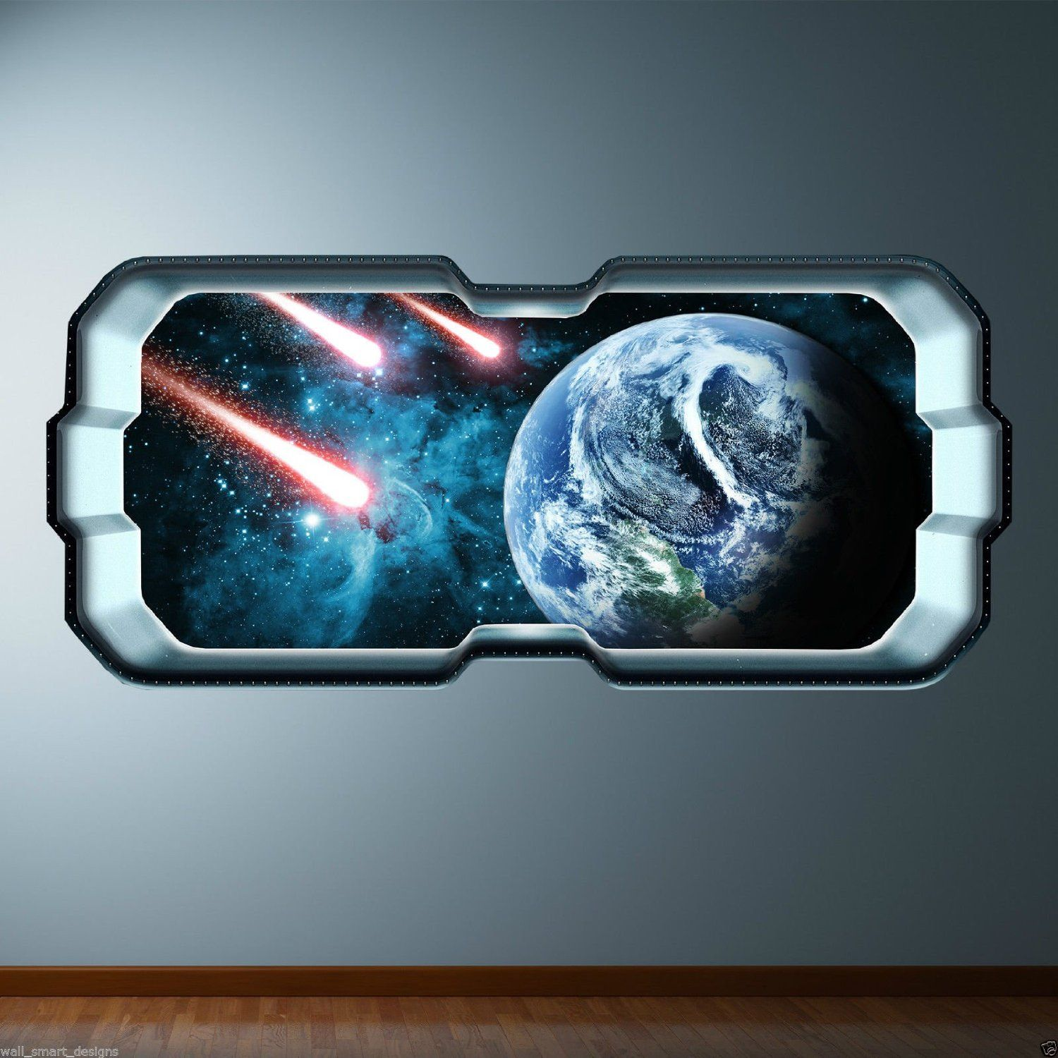 Asteroid Meteor Space Window Full Colour Wall Art Sticker Decal Boys ...