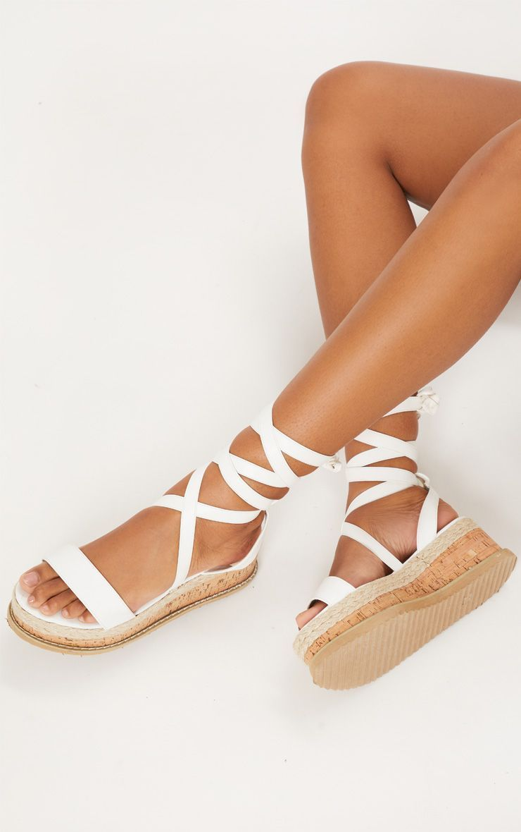 266d48af834 Jacey White Espadrille Flatform Sandals - Flats - PrettylittleThing - Shop  Shoes - Shop more affordable fashion online now at PrettyLittleThing.com .