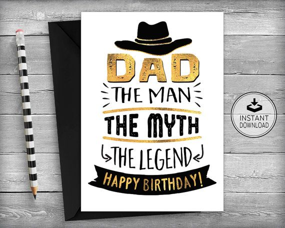 Dad Birthday Card Fathers Father Printable Instant Do