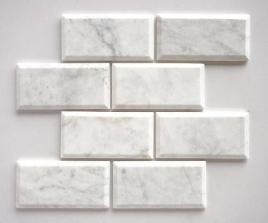 Bianco Carrara White Marble 3x6 Beveled Subway Tile Polished