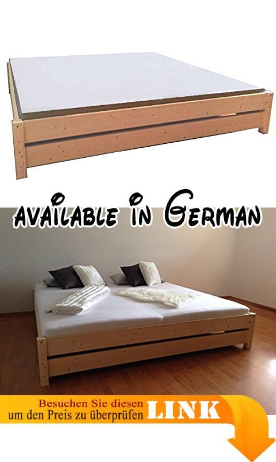 B00ZS3YUFK : Premium Futon Bett Holz massiv Holzbett für hohe ...