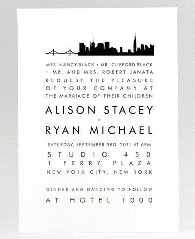 New York City Skyline Wedding Invitation New York Shower