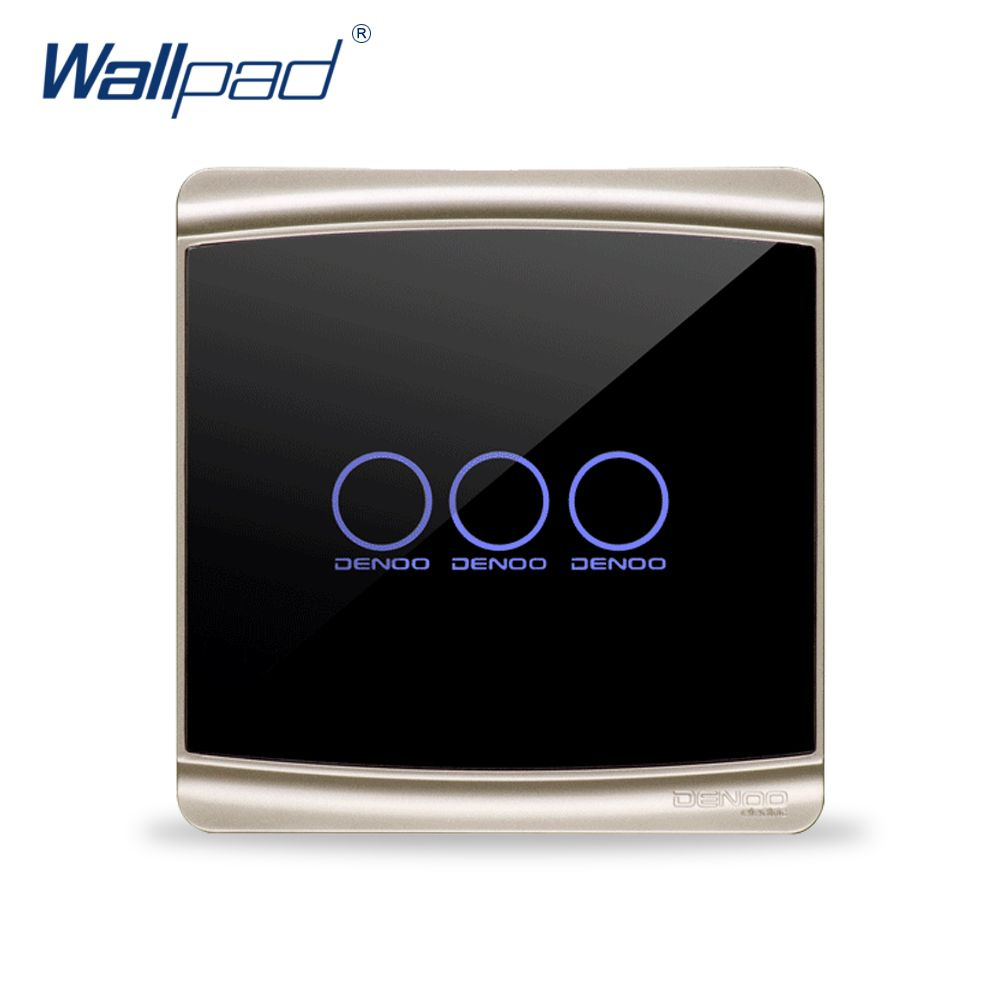 Free Shipping Wallpad Luxury Black Crystal Glass Switch Panel Touch 3 Gang Light Box Screen Wall Backlight Led