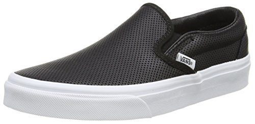 Vans Unisex Classic Slip-On (Perf Leather) Black Skate Sh.