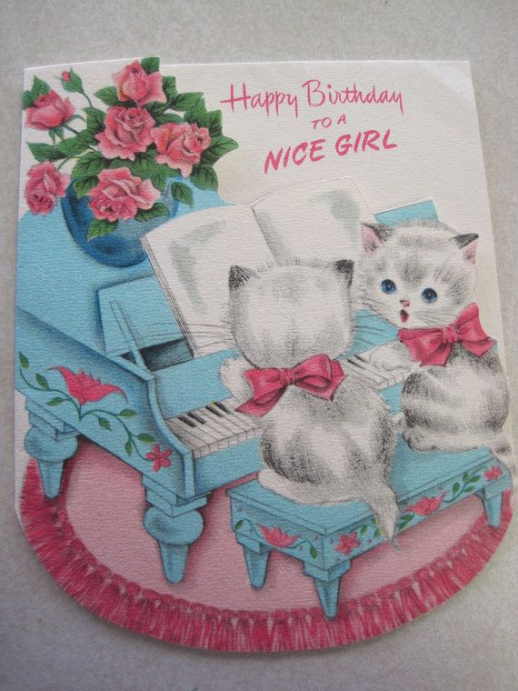 Vintage Birthday Card Kittens At Piano For Girl American Greetings