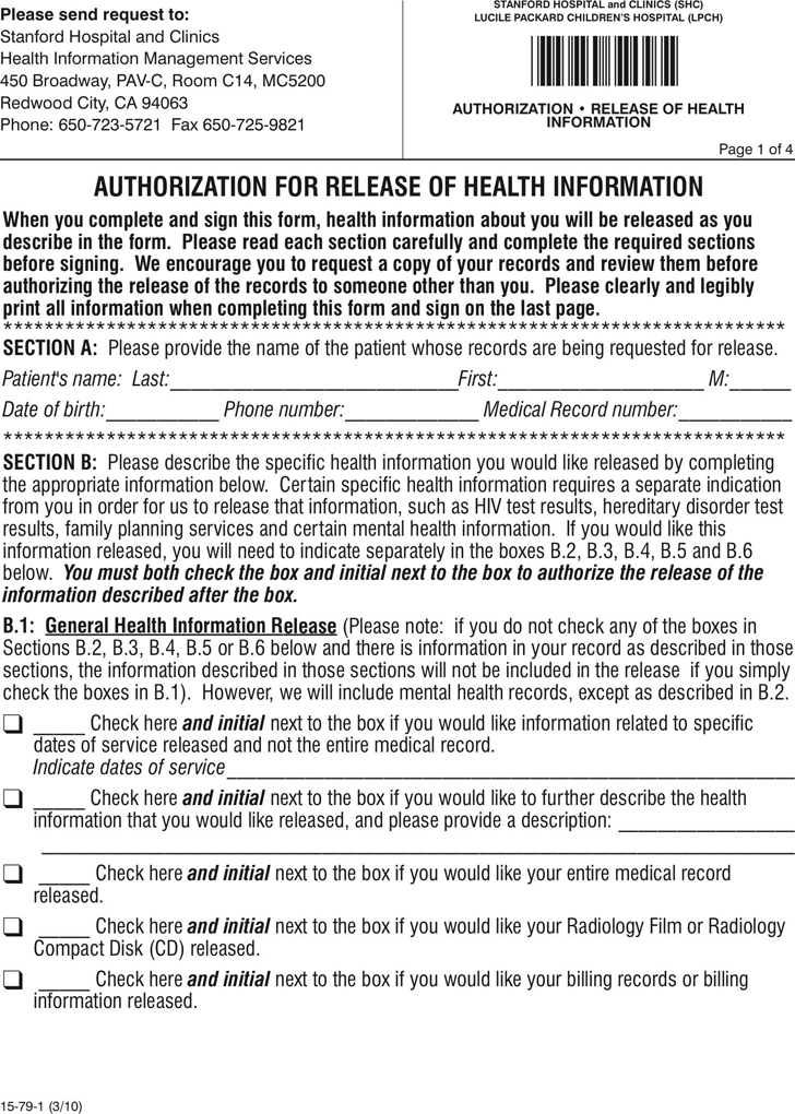 California Authorization For Release Of Health Information Download Free Printable Health Information Management Protected Health Information Stanford Hospital