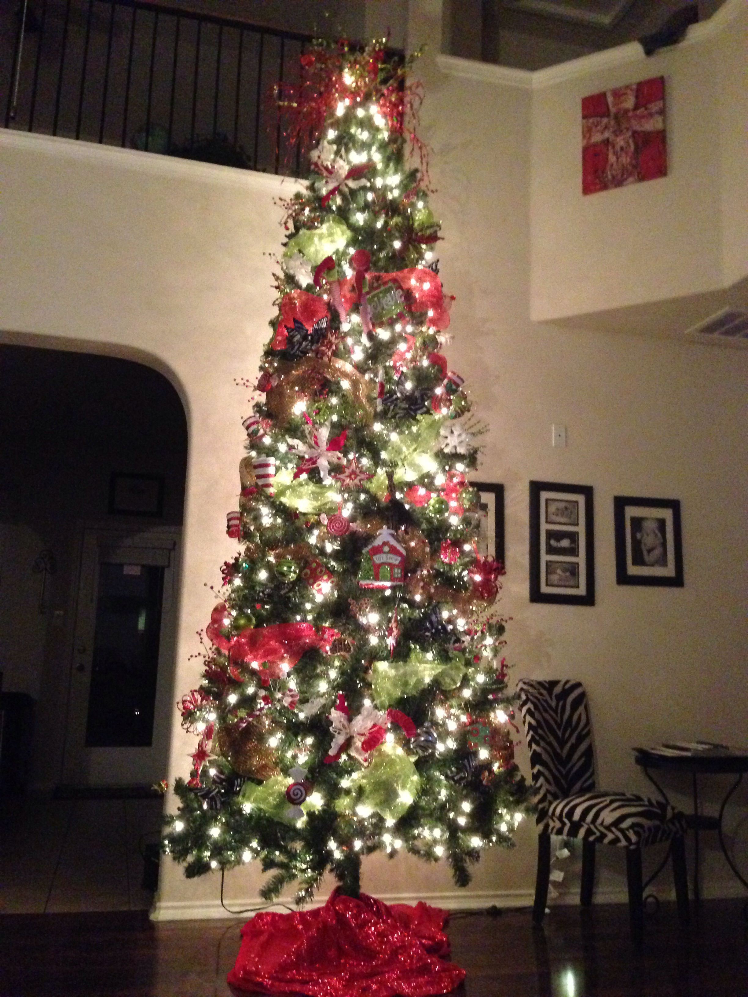 12 Ft Christmas Tree With Deco Mesh Go Big Or Go Home 12 Ft Christmas Tree Christmas Tree Holiday Decor