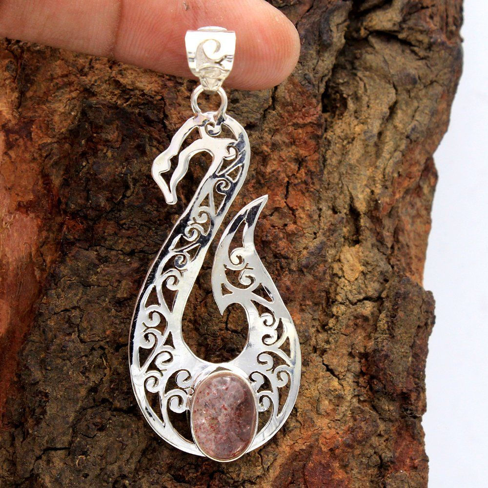 ap2851 925 Sterling Silver Handmade Designer Pendant Jewelry For Gift Length 2.2 Faceted Kashmir Ruby Oval Gemstone 3 Stone Pendant