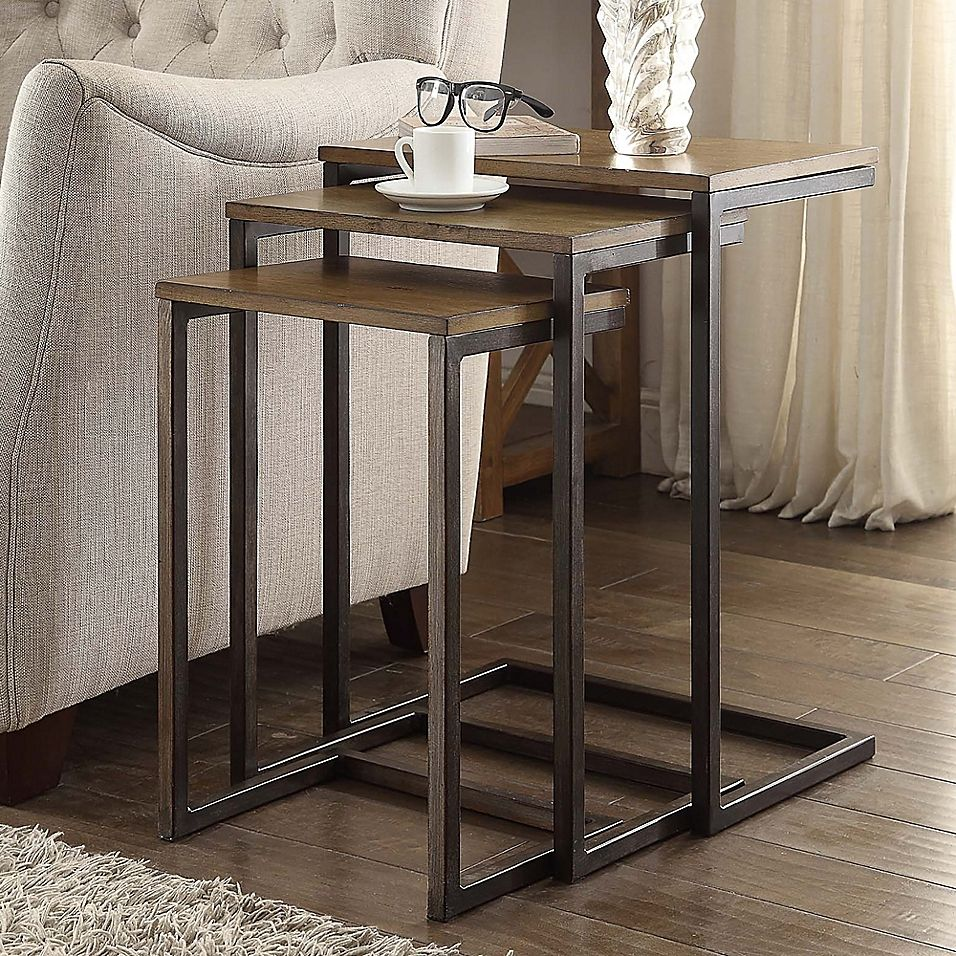 Carolina Cottage Emmitt 3 Piece Nesting Table Set Bed Bath Beyond Nesting Tables Console Table Modern Living Room Table