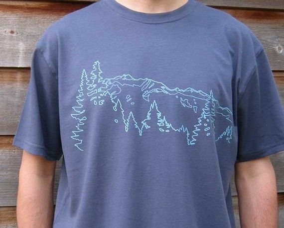 Mens Organic Cotton T Shirt - Mens Graphic Tee - Grey T Shirt - Mountain Ridge TShirt - Organic Cotton Shirt - Screen Print Shirt jTJOJ4X9A