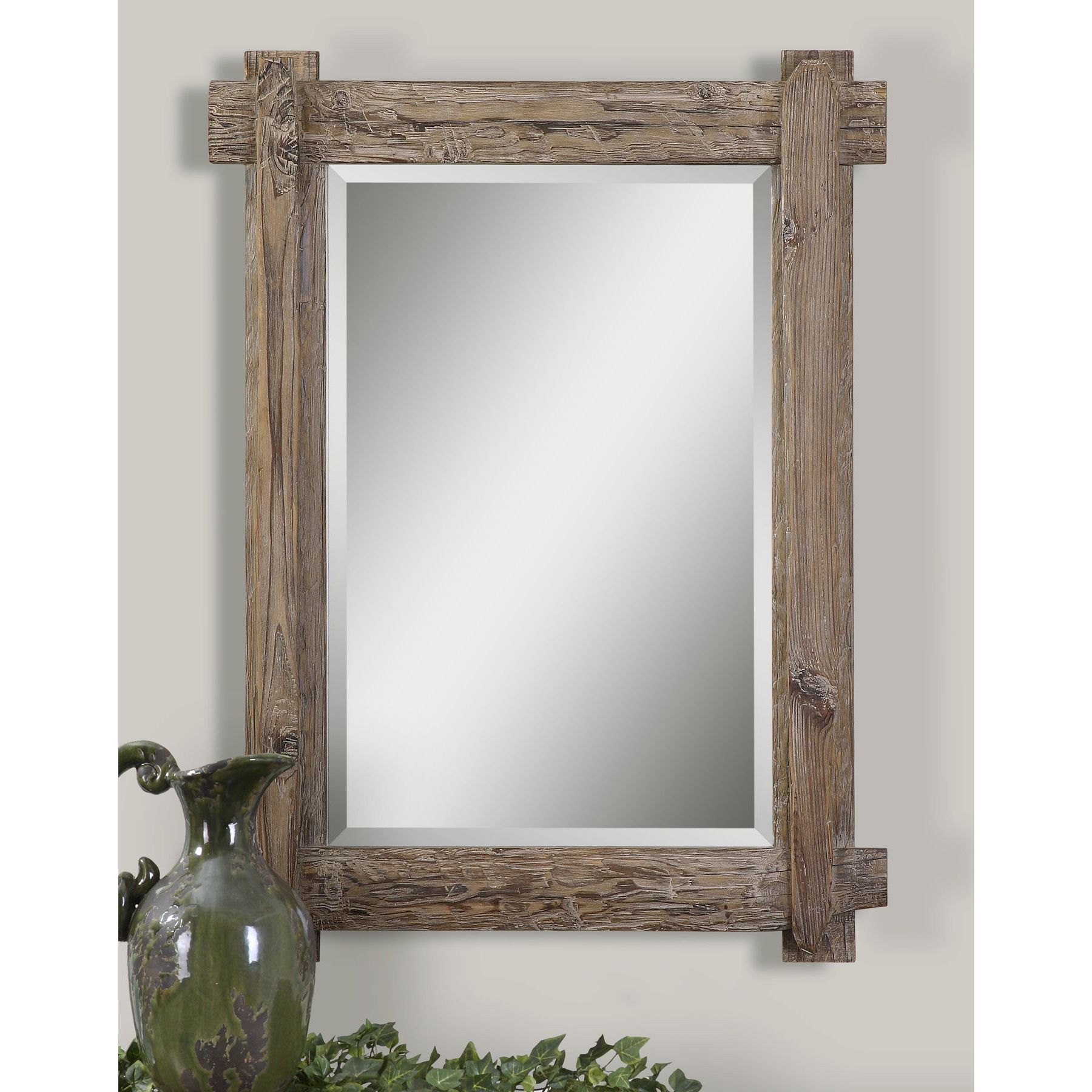 Uttermost Claudio Wood Mirror Natural 29 25x39 25x2 125 Wood Mirror Wood Framed Mirror Distressed Wood Mirror