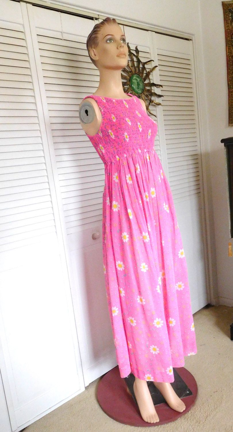 S mod maxi dress pink s style elastic bodice size small
