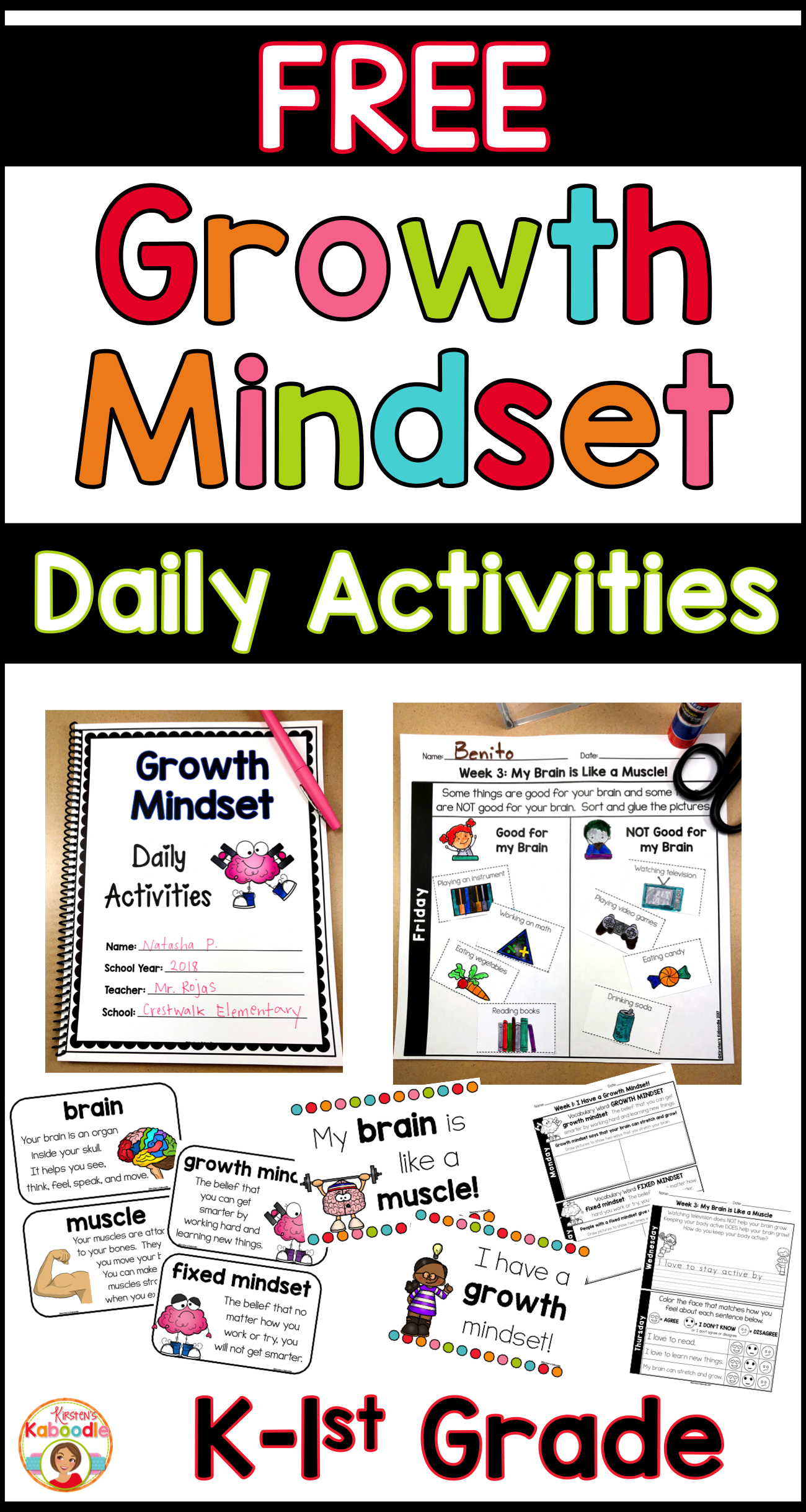 Growth Mindset Activities Daily Warm Up Journal