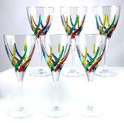 Due Zeta Crystal Rainbow Wine Glasses Clear Stems Set Of 6 15th Anniversary Gifts For HousewarmingAnniversary GiftsWedding