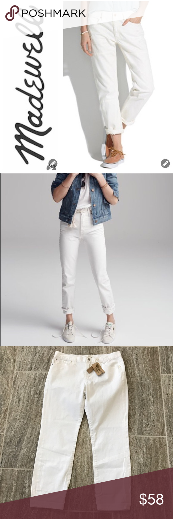 """NWT Madewell White Boy Jean NWT Madewell White Boy Jeans are crisp and clean! These Jeans feature a classic 5 pocket silhouette. Silver Hardware. Belt loops. Tonal stitching. Embroidered M Madewell logo on rear pocket. Front fly zip with one button closure. Relaxed through the hip and thigh. Can be worn rolled or straight. Rise 9 3/4"""" Inseam 27"""" waist 29"""" Leg opening 14"""". Smoke Free Home. Super adorable. Madewell Jeans Boyfriend"""