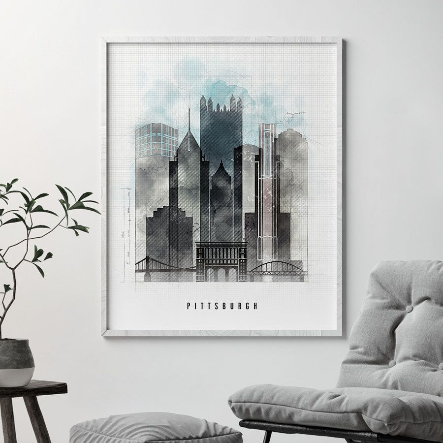 Pittsburgh skyline Pittsburgh art print poster