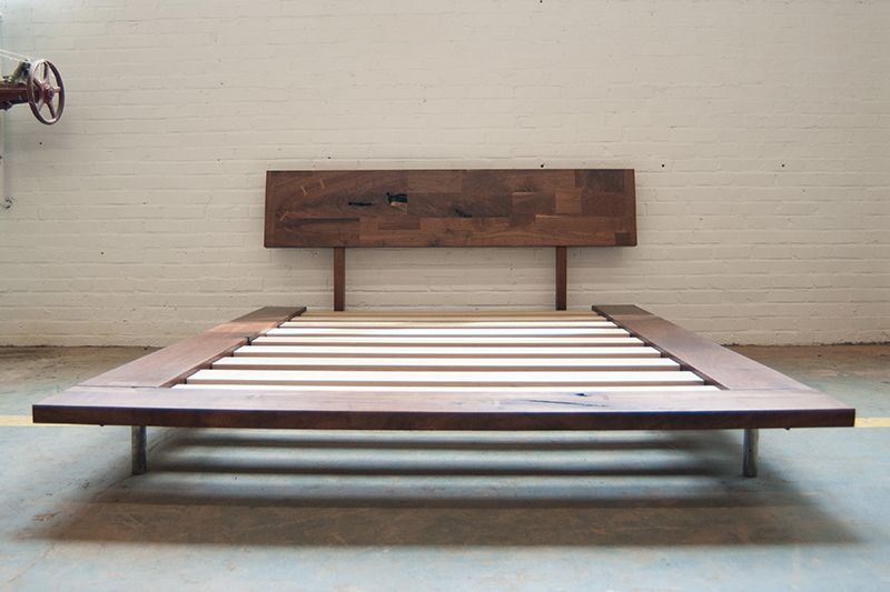 Queen Bed Walnut Dylan Design 2 Mid Century Diy Bed Bed Frame