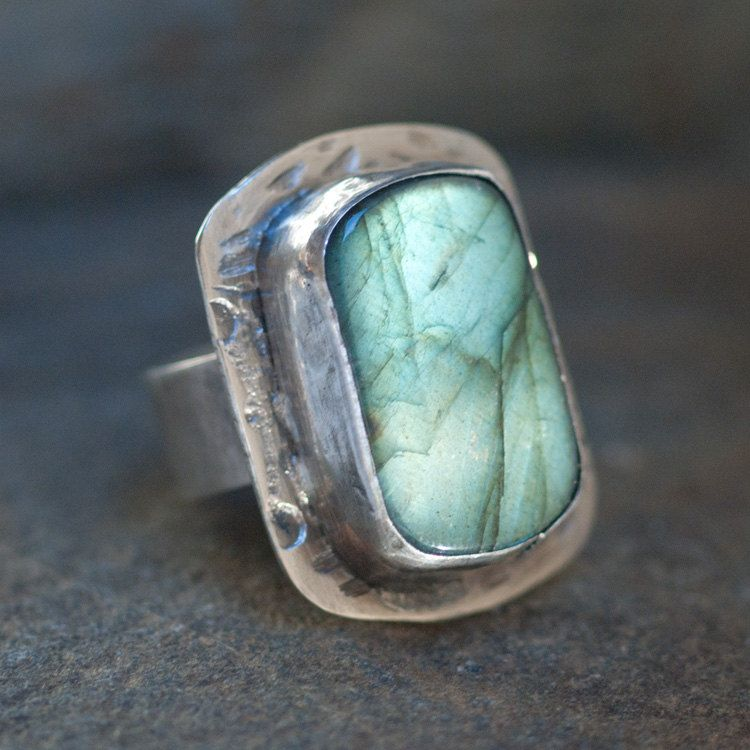 Huge Chunky Green Labradorite Cocktail Ring Size by PureDichotomy