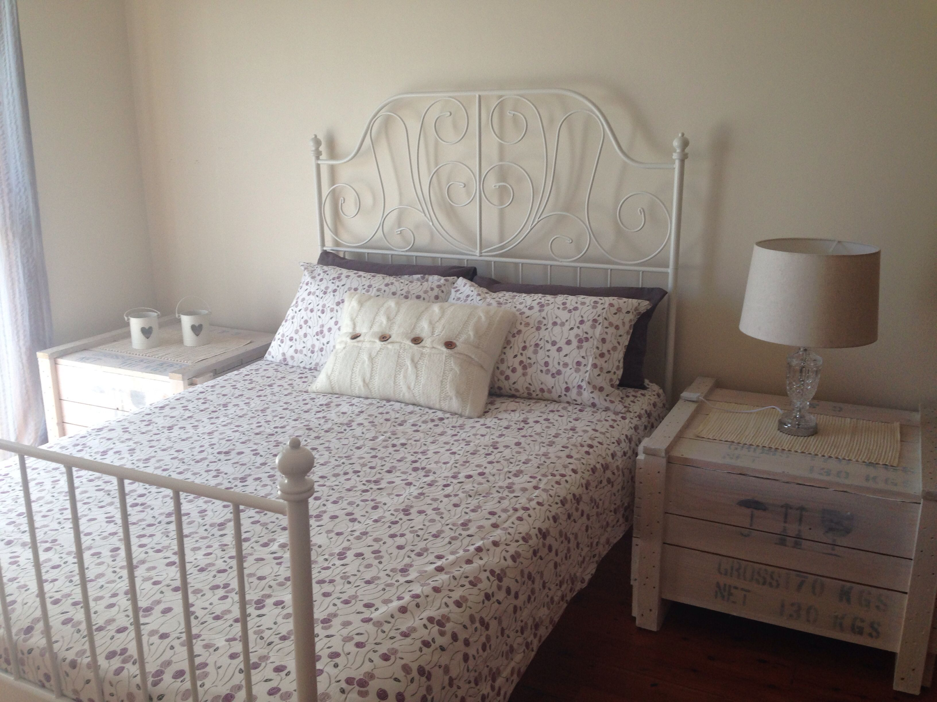 Crates whitewashed and used as bedside tables home