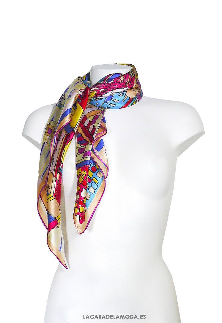 Pañuelo Seda Natural Habotai Con Estampado Multicolor Pañuelo Cuello Cuadrado De Seda Y Colores Pañuelos Pañuelos Cuello Pañuelos Para La Cabeza Estampado