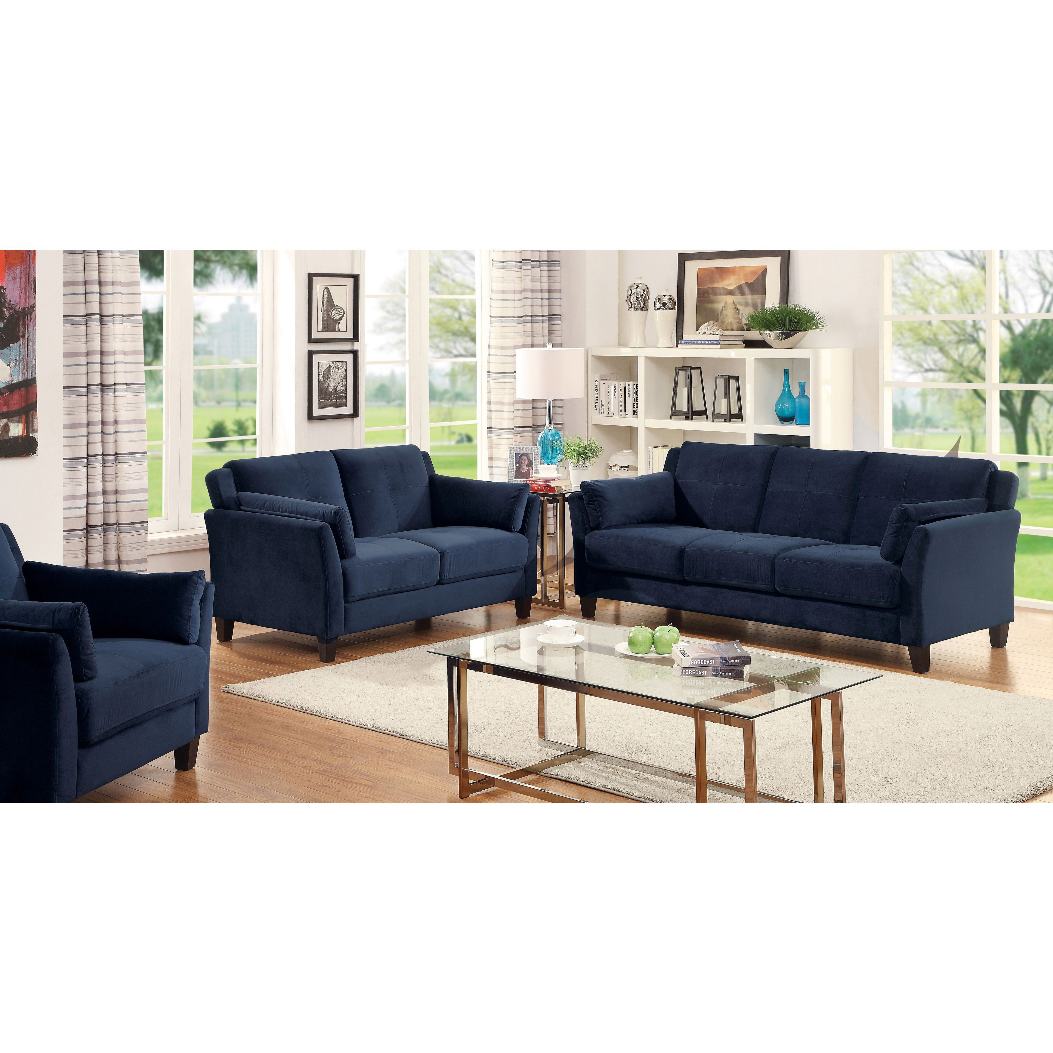 Furniture Of America Pierson Contemporary 3 Piece Flannelette Sofa Set (Navy),