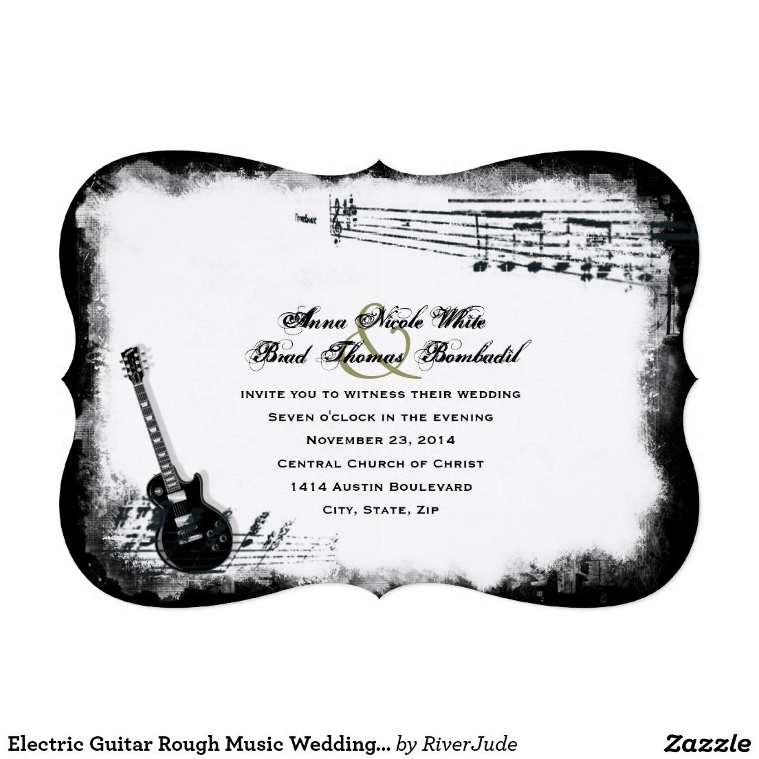 Electric Guitar Rough Music Wedding Invitation | Wedding Ideas ...