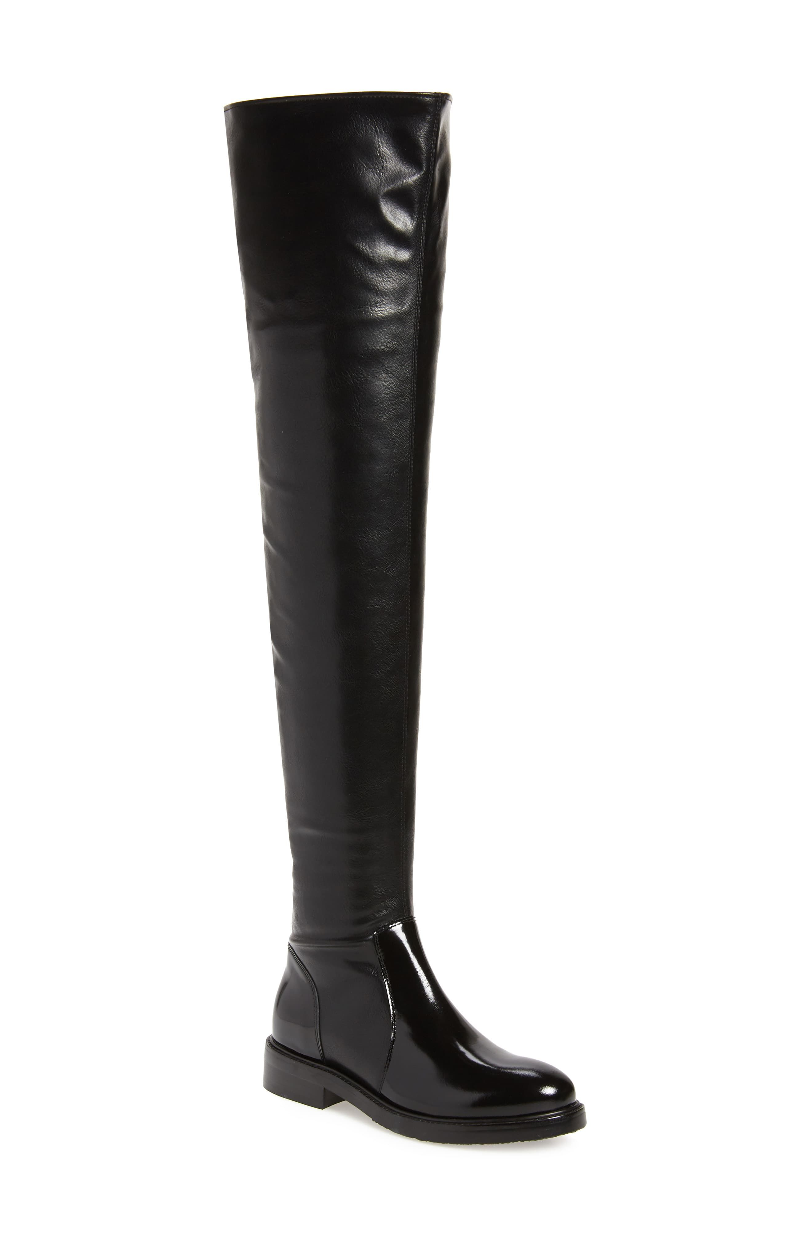 Womens knee high boots shiny Leather pull on Low heel Motor shoes Plus SZ Casual