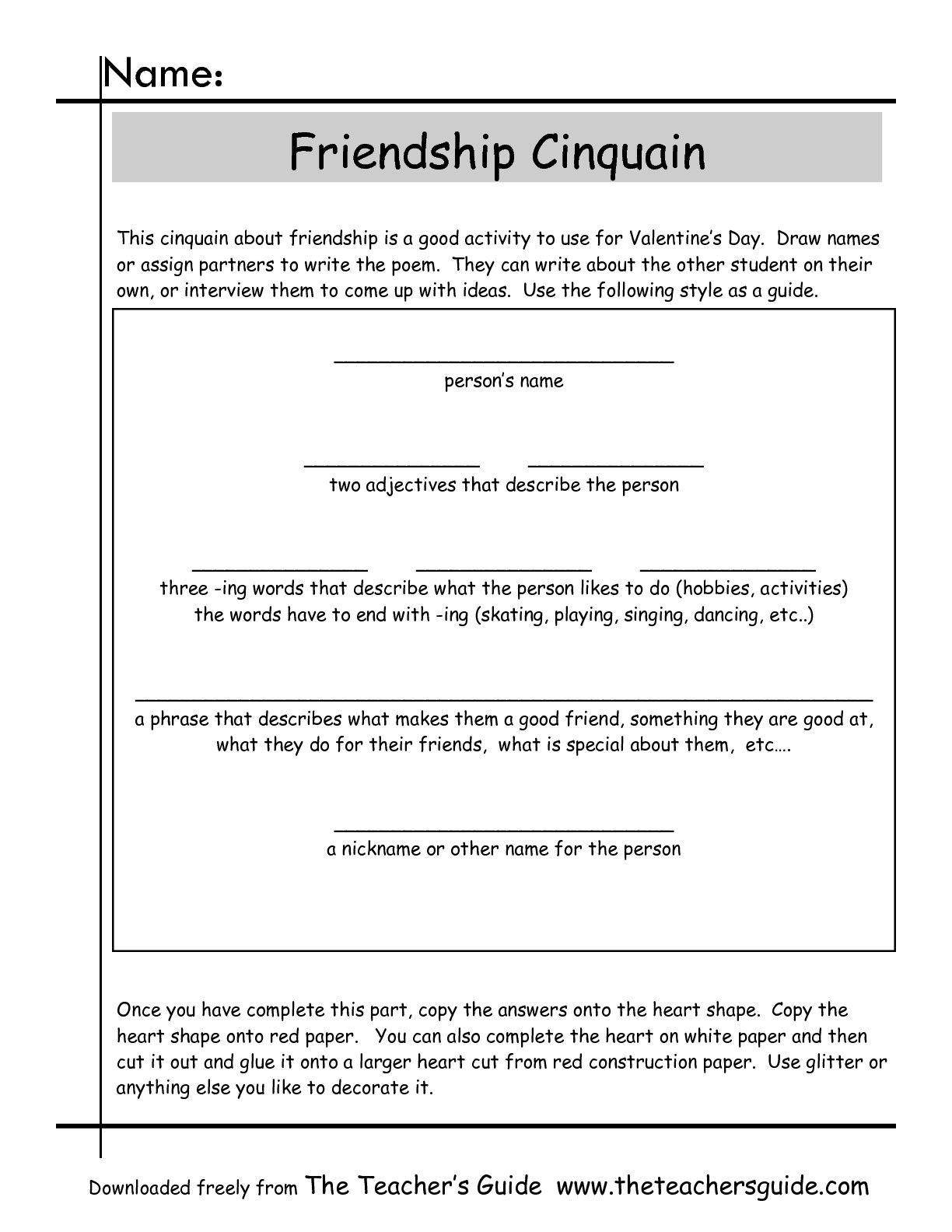Friendship Cinquain Worksheet