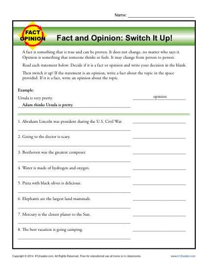 46++ Fact and opinion worksheets 4th grade Top