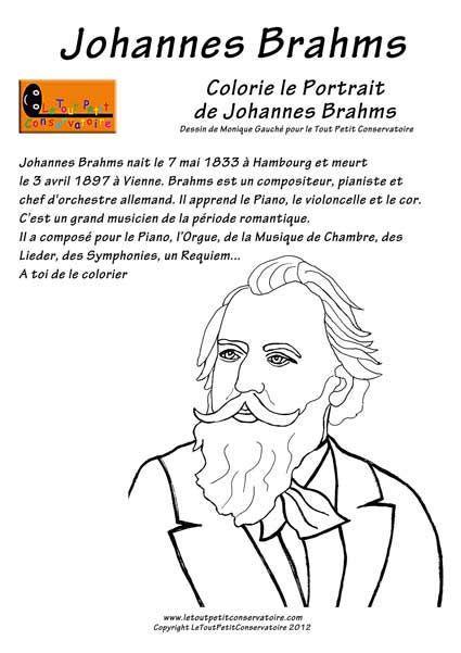 Johannes Brahms Compositeur De Musique Coloriage Enfants Dessin De Brahms Education Musicale Compositeurs Musique