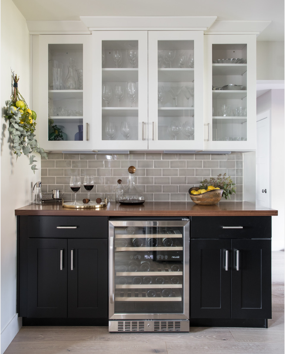 Subway Tile Black Cabinets Butcher Block Counter Tops Chrome Cabinet Hardware Wine Bar Coffee Bar Kitchen Interior New Kitchen Cabinets Home Decor Kitchen