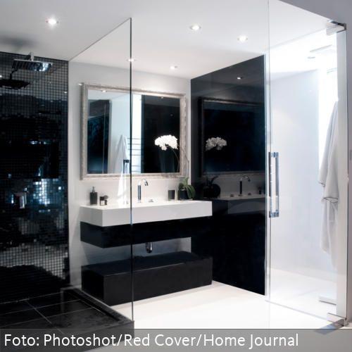 waschtisch in schwarz-weiß und offene dusche mit glaswand, Haus Raumgestaltung
