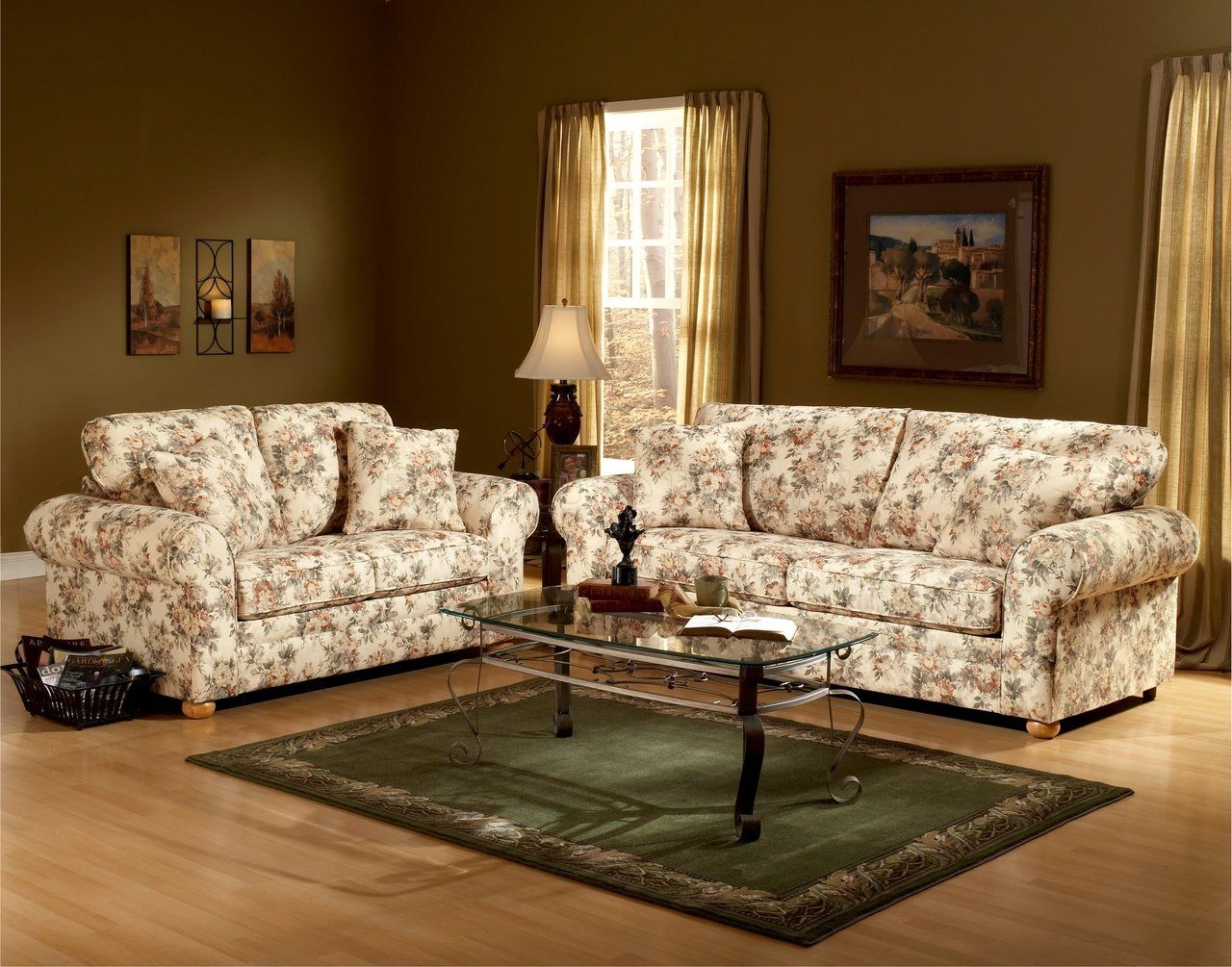 Floral Pattern Fabric Traditional Sofa Loveseat Set In A More Traditional Room Couch And Loveseat Set Sofa And Loveseat Set Couch And Loveseat