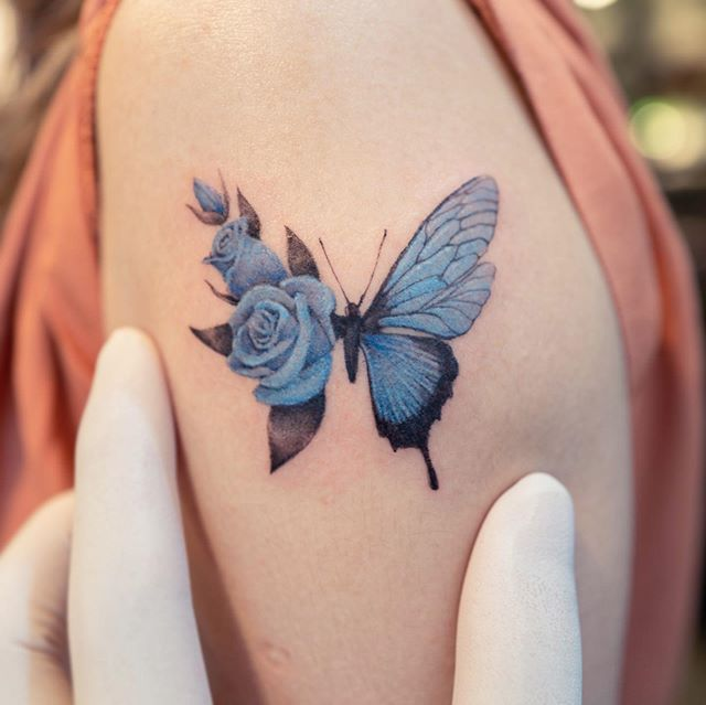 "Tattoo colors-color tattoos – color tattoo emotion tattoo mini color tattoo flower tattoo no Instagram: ""🦋🌹💙"" – #color #color #color …"