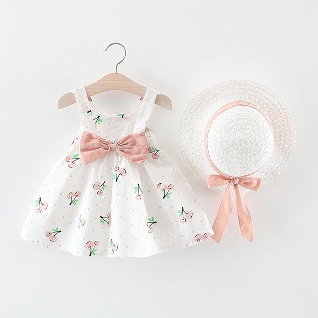 Toddler Kids Baby Girls Dot Print Floral Princess Dress+Hat Cap Clothes Outfits