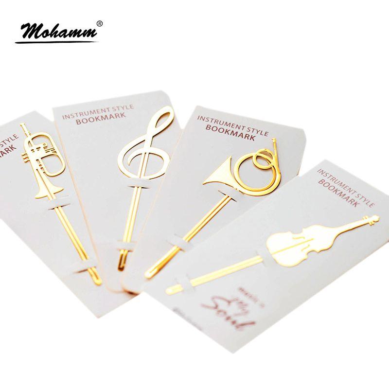 Neue Kawaii Nette Gold Musikinstrumente Metall Buch Marker