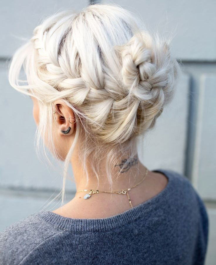 Braided Hairstyles 5 Ideas For Your Wedding Look: Platinum Blonde Braided Updo Hairstyles