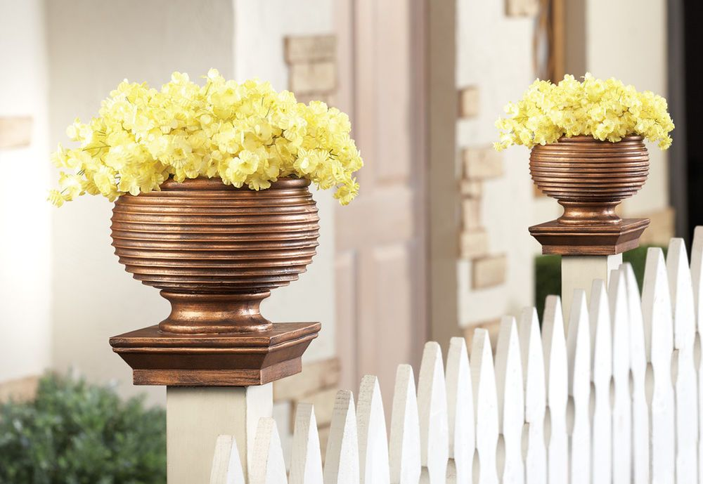 Collectionsetc Fence Post Cap Planter Flower Pot Regular