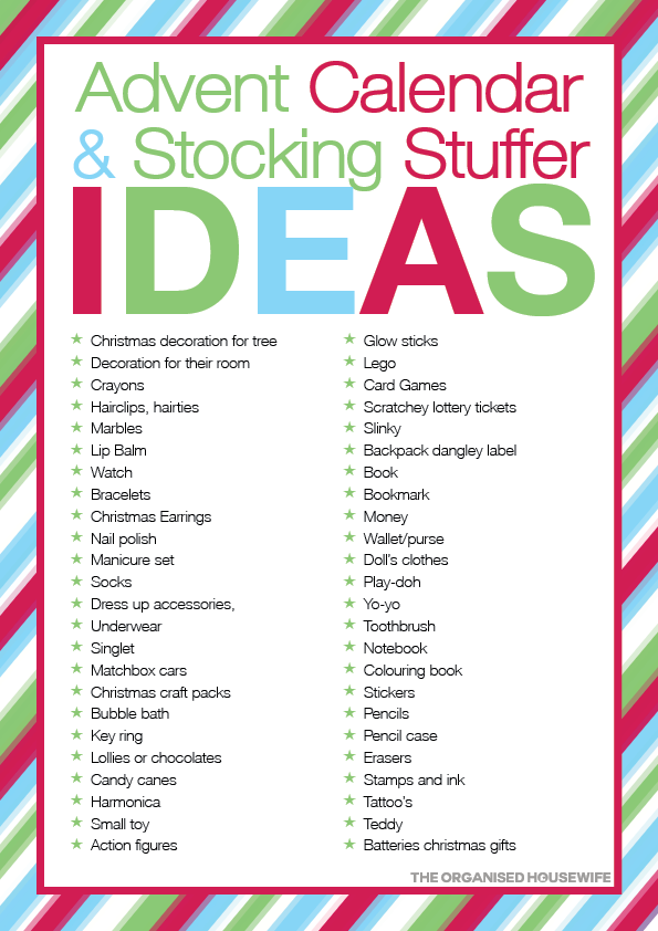 Reverse Advent Calendar Ideas : Advent calendar stocking stuffer ideas joulu
