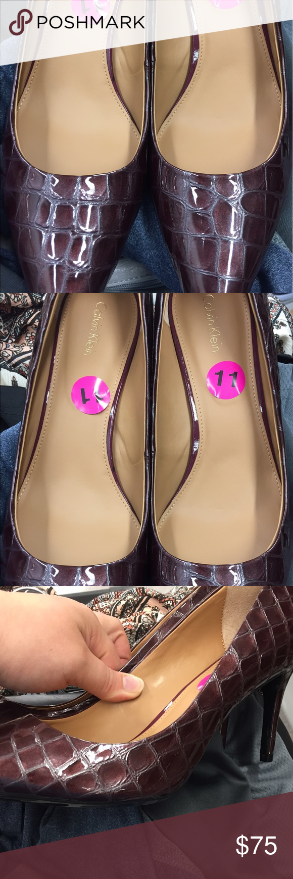 BRAND NEW! Calvin Klein Burgandy Crocodile Heels. BRAND NEW! With size sticker! Calvin Klein Shoes Heels