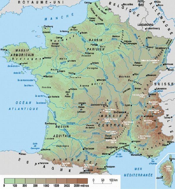 carte de france avec relief et villes France relief fleuves régions villes montagnes France Europe