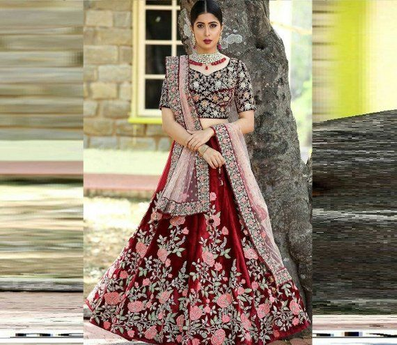 e55cd665033 Designer Premium exclusive heavy maroon color indian wedding lehenga choli