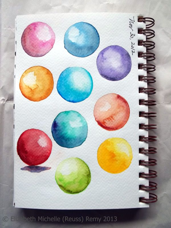 Watercolor Wednesday Shaded Spheres How To Crayons Aquarelles